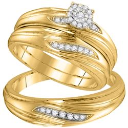 1/5 CTW Diamond His & Hers Matching Trio Wedding Engagement Bridal Ring 10kt Yellow Gold - REF-33A6N