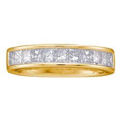 1 CTW Princess Channel-set Diamond Single Row Wedding Ring 14kt Yellow Gold - REF-95K9R