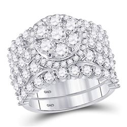 5 CTW Round Diamond Cluster Bridal Wedding Engagement Ring 14kt White Gold - REF-383R9H