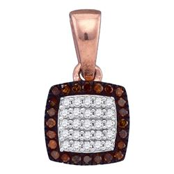 1/8 CTW Round Red Color Enhanced Diamond Square Cluster Pendant 10kt Rose Gold - REF-11Y9X