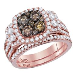 2 CTW Round Brown Diamond Bridal Wedding Engagement Ring 14kt Rose Gold - REF-179W9F