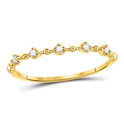 1/20 CTW Round Diamond Bead Dot Stackable Ring 10kt Yellow Gold - REF-6N5Y