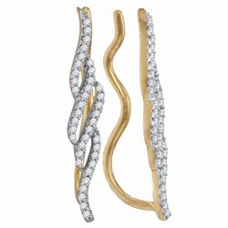 1/4 CTW Round Diamond Vertical Twist Climber Earrings 10kt Yellow Gold - REF-18N3Y