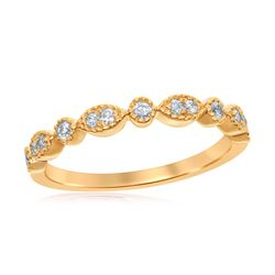 1/6 CTW Round Diamond Milgrain Stackable Ring 14kt Yellow Gold - REF-19W2F