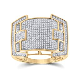 5/8 CTW Mens Round Diamond Cluster Ring 10kt Yellow Gold - REF-60M3A