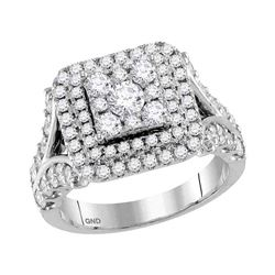 2 CTW Round Diamond Square Cluster Bridal Wedding Engagement Ring 14kt White Gold - REF-143F9M