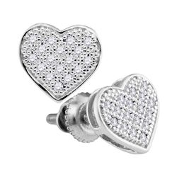 1/10 CTW Round Diamond Heart Cluster Stud Earrings 10kt White Gold - REF-9W3F