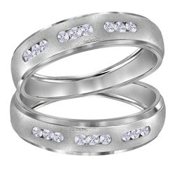 1/4 CTW His & Hers Round Diamond Matching Wedding Ring 14kt White Gold - REF-47A9N