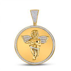 1/2 CTW Mens Round Diamond Circle Angel Cherub Medallion Charm Pendant 10kt Yellow Gold - REF-54X3T