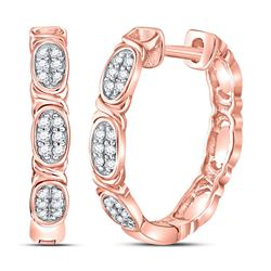 1/6 CTW Round Diamond Hoop Earrings 14kt Rose Gold - REF-27T5K