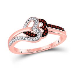 1/6 CTW Round Red Color Enhanced Diamond Heart Ring 10kt Rose Gold - REF-18H3W