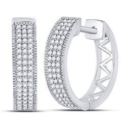1/3 CTW Round Diamond Triple Row Pave Hoop Earrings 10kt White Gold - REF-26F3M