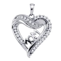 1/5 CTW Round Diamond Mom Mother Heart Outline Pendant 10kt White Gold - REF-15M5A