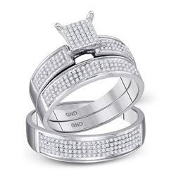 1/2 CTW His & Hers Round Diamond Cluster Matching Bridal Wedding Ring 10kt White Gold - REF-45M3A