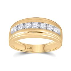 7/8 CTW Mens Round Diamond Wedding Channel-Set Ring 10kt Yellow Gold - REF-63A3N