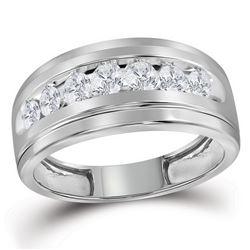 1 CTW Mens Round Diamond Wedding Channel-Set Ring 10kt White Gold - REF-71X9T