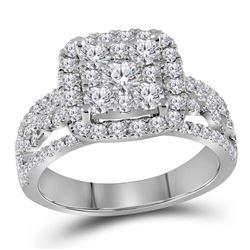1 & 1/2 CTW Round Diamond Cluster Bridal Wedding Engagement Ring 14kt White Gold - REF-120Y3X