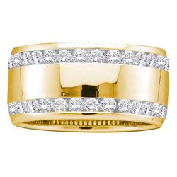 1 CTW Round Diamond Double Row Eternity Wedding Ring 14kt Yellow Gold - REF-95W9F