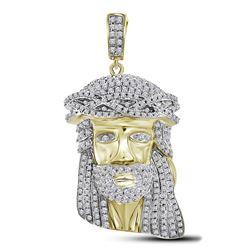 1 & 1/3 CTW Mens Round Diamond Jesus Charm Pendant 10kt Yellow Gold - REF-75A5N
