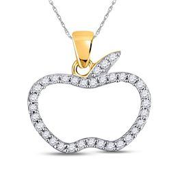 1/5 CTW Round Diamond Apple Outline Pendant 10kt Yellow Gold - REF-8X4T