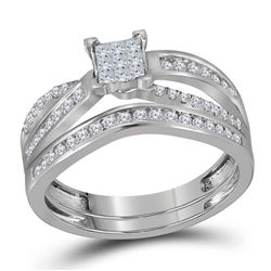 1/2 CTW Princess Diamond Bridal Wedding Engagement Ring 14kt White Gold - REF-47X9T