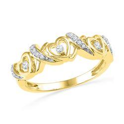 1/8 CTW Round Diamond Heart Ring 10kt Yellow Gold - REF-15F5M