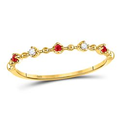 1/20 CTW Round Ruby Diamond Beaded Stackable Ring 10kt Yellow Gold - REF-9X3T