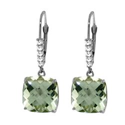 Genuine 7.35 ctw Green Amethyst & Diamond Earrings 14KT White Gold - REF-57N3R