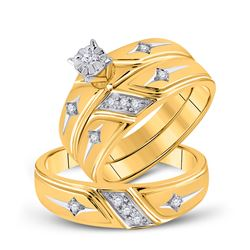 1/5 CTW His & Hers Round Diamond Cross Matching Bridal Wedding Ring 14kt Yellow Gold - REF-51H3W