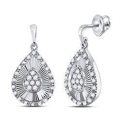 1/3 CTW Round Diamond Teardrop Dangle Earrings 10kt White Gold - REF-30M3A
