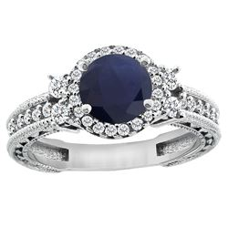 1.46 CTW Blue Sapphire & Diamond Ring 14K White Gold - REF-177W3F