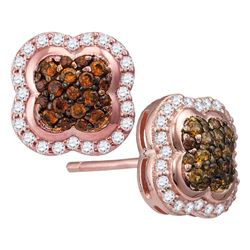 1/2 CTW Round Brown Diamond Quaterfoil Cluster Stud Earrings 10kt Rose Gold - REF-30A3N