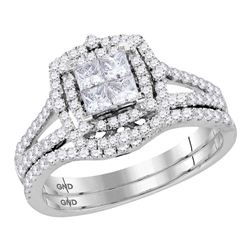1 CTW Princess Diamond Halo Bridal Wedding Engagement Ring 14kt White Gold - REF-71T9K