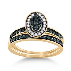 1/2 CTW Round Blue Color Enhanced Diamond Bridal Wedding Engagement Ring 10kt Yellow Gold - REF-20H9