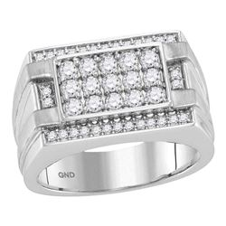 1 CTW Mens Round Diamond Square Cluster Ring 14kt White Gold - REF-107W9F