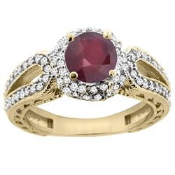 1.55 CTW Ruby & Diamond Ring 14K Yellow Gold - REF-87H5M