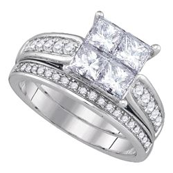 1 CTW Princess Diamond Bridal Wedding Engagement Ring 14kt White Gold - REF-137R9H