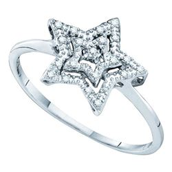 1/20 CTW Round Diamond Star Ring 10kt White Gold - REF-7T5K