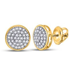 1/5 CTW Round Diamond Circle Cluster Stud Earrings 10kt Yellow Gold - REF-14A4N