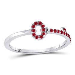 1/5 CTW Round Ruby Key Stackable Ring 10kt White Gold - REF-10K8R