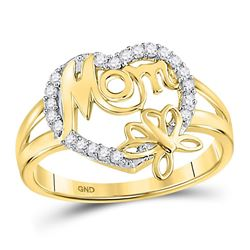 1/6 CTW Round Diamond Mom Mother Heart Butterfly Ring 10kt Yellow Gold - REF-13T2K