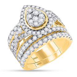 3 CTW Round Diamond Pear Bridal Wedding Engagement Ring 14kt Yellow Gold - REF-209N9Y
