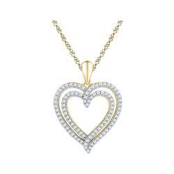 1/2 CTW Round Diamond Double Frame Heart Pendant 10kt Yellow Gold - REF-30X3T