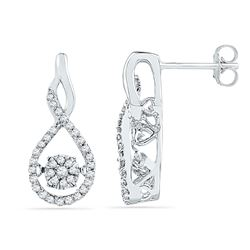 1/3 CTW Round Diamond Moving Cluster Earrings 10kt White Gold - REF-33F3M