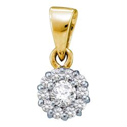 1/4 CTW Round Diamond Solitaire Circle Frame Cluster Pendant 14kt Yellow Gold - REF-18W3F