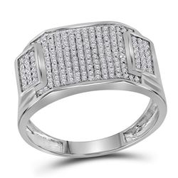 1/2 CTW Mens Round Diamond Rectangle Cluster Ring 10kt White Gold - REF-27M3A