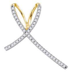 1/4 CTW Round Diamond Cross Religious Pendant 10kt Yellow Gold - REF-11F9M