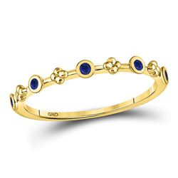1/12 CTW Round Blue Sapphire Dot Flower Stackable Ring 10kt Yellow Gold - REF-7H5W