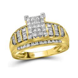 1 CTW Princess Diamond Cluster Bridal Wedding Engagement Ring 10kt Yellow Gold - REF-65Y9X