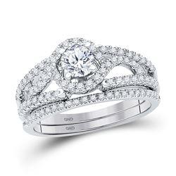 3/4 CTW Round Diamond Bridal Wedding Engagement Ring 14kt White Gold - REF-90A3N